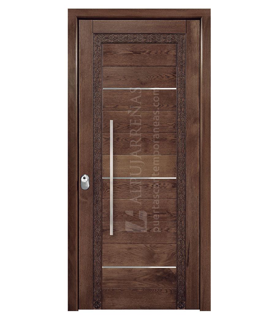 Puerta exterior madera maciza modelo 3050 maderas ravira for Puertas de entrada de madera maciza