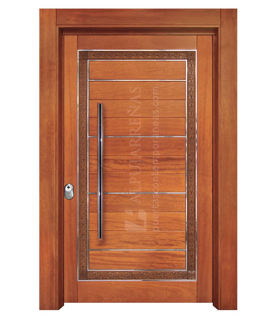Puerta exterior madera maciza pivotante modelo 3060 for Puertas de entrada de madera maciza