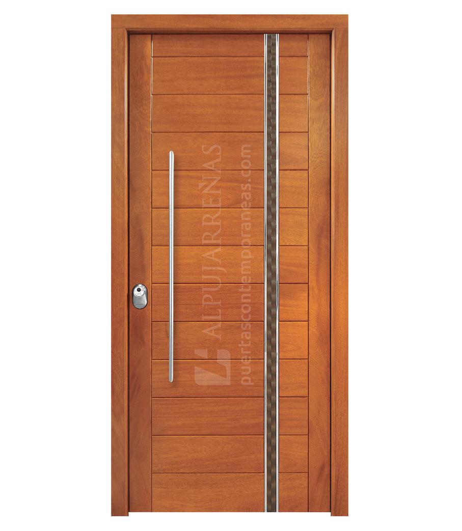 Puerta exterior madera maciza modelo 3000 maderas ravira for Puertas madera a medida