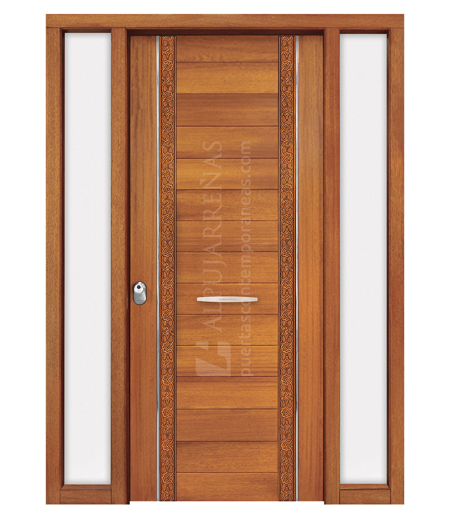 Puerta exterior madera maciza modelo 3040 maderas ravira for Modelos de puertas de madera para frente