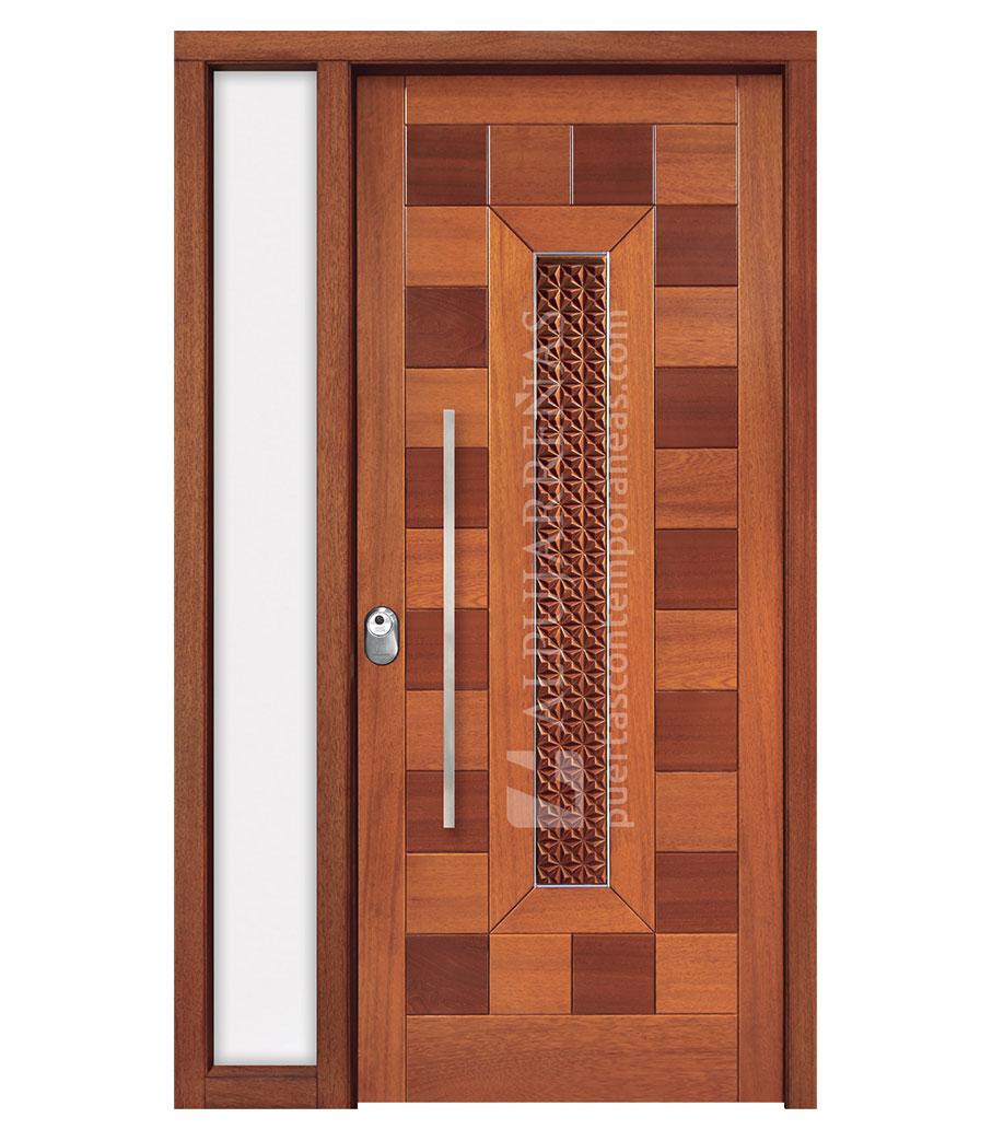 Puerta exterior madera maciza 3110 maderas ravira for Descripcion de puertas de madera